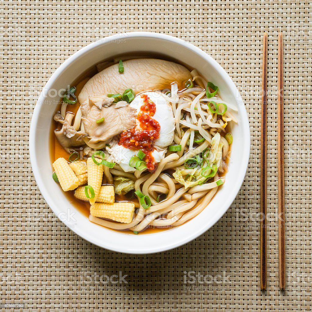 Asian Noodle Soup from Above stock photo