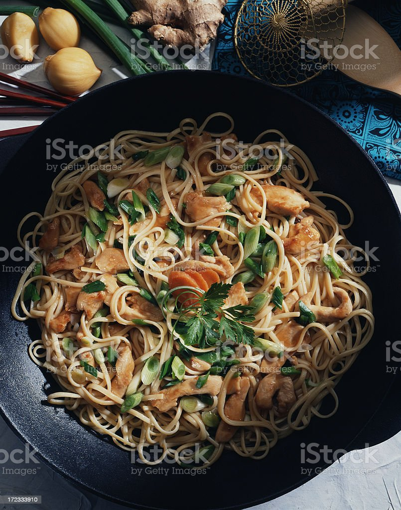Asian noodle stir fry royalty-free stock photo