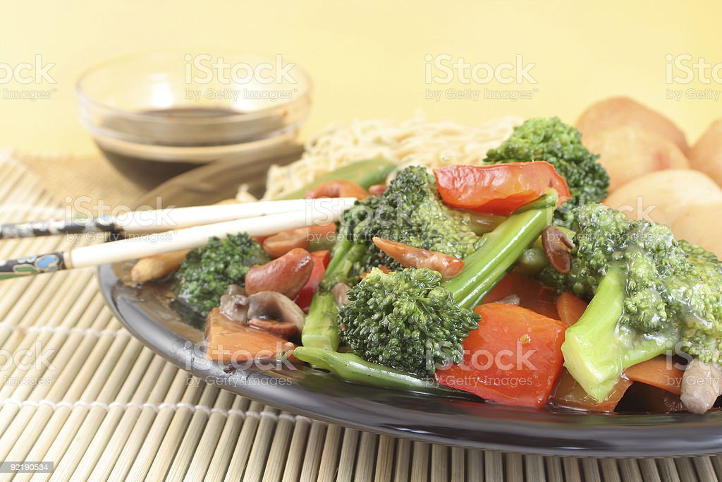 asian noodles and vegetables stock photo