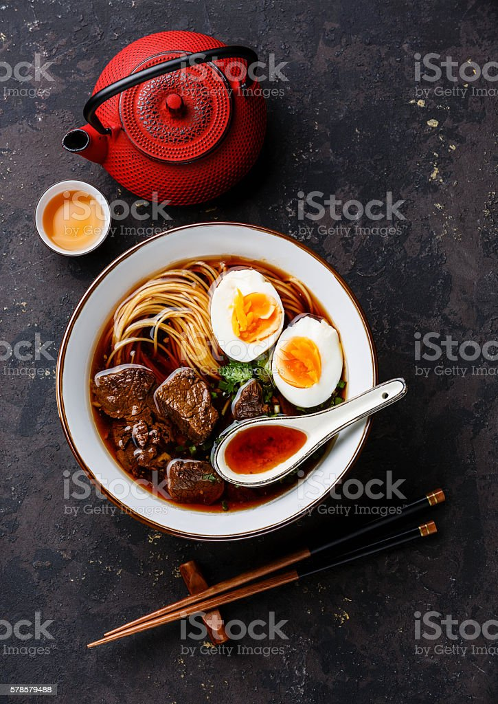 Asian noodles with Beef and Egg stock photo