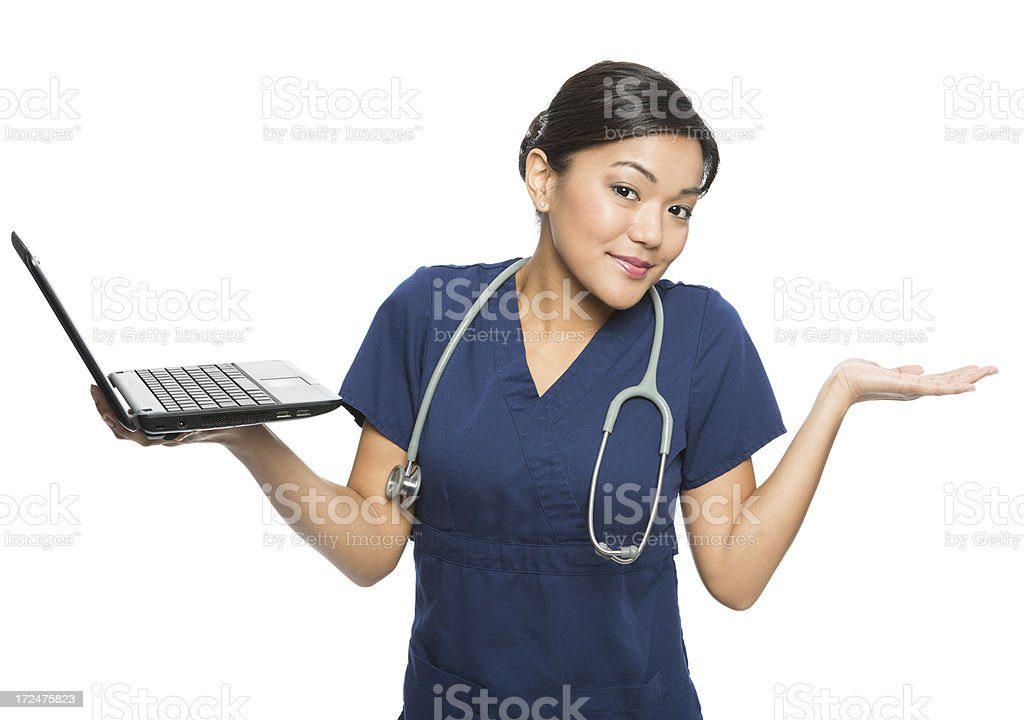 Asian Nurse Holding Laptop royalty-free stock photo