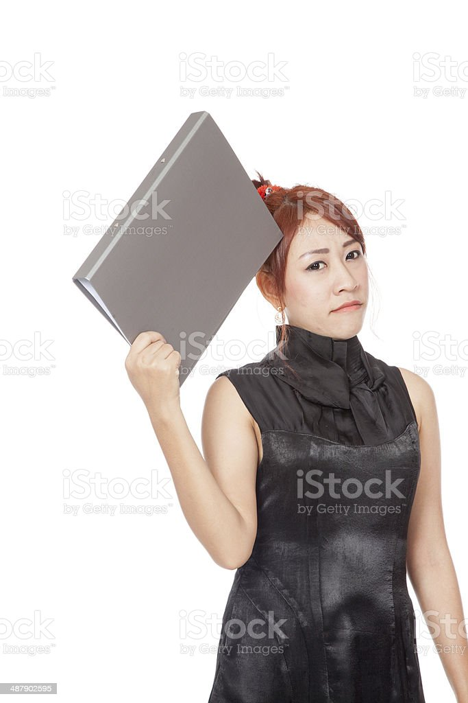 Asian office girl is thinking and be in bad mood royalty-free stock photo