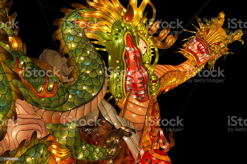 Asian Paper Lantern in Form of Snake and Dragon stock photo
