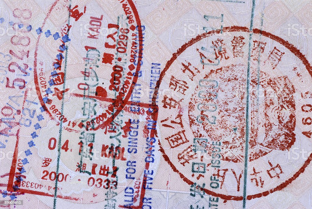 Asian Passport with Chinese entry stamps royalty-free stock photo