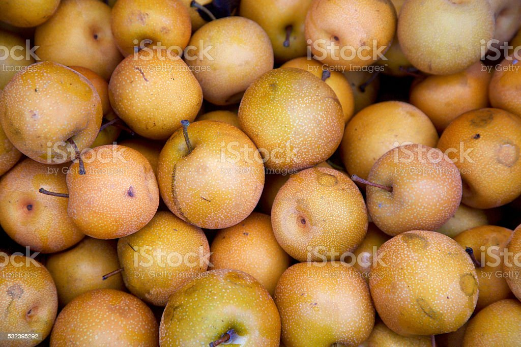asian pears after harvest stock photo