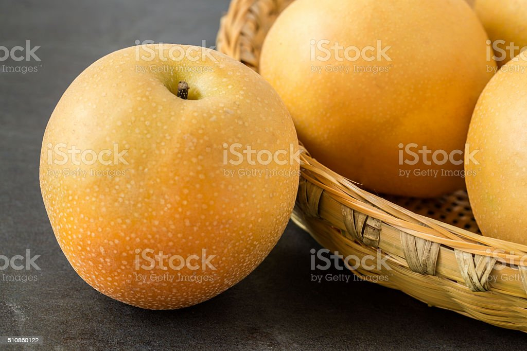 Asian Pears on the slate background stock photo