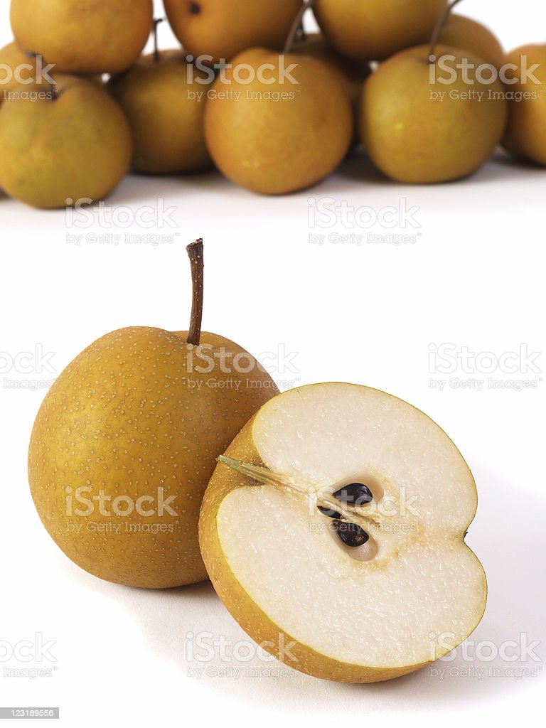 Asian Pears on white background stock photo