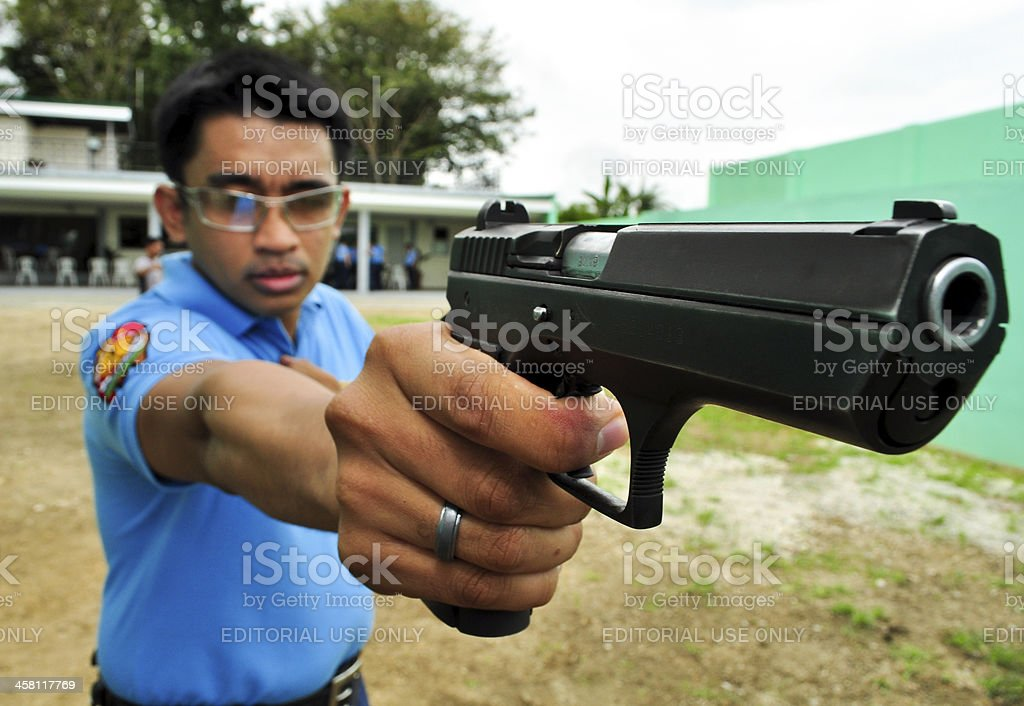 Asian police shooting practice royalty-free stock photo