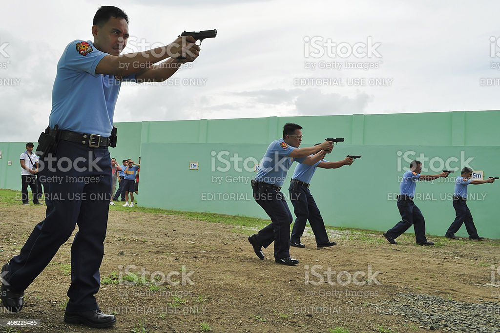 Asian police shooting practice stock photo