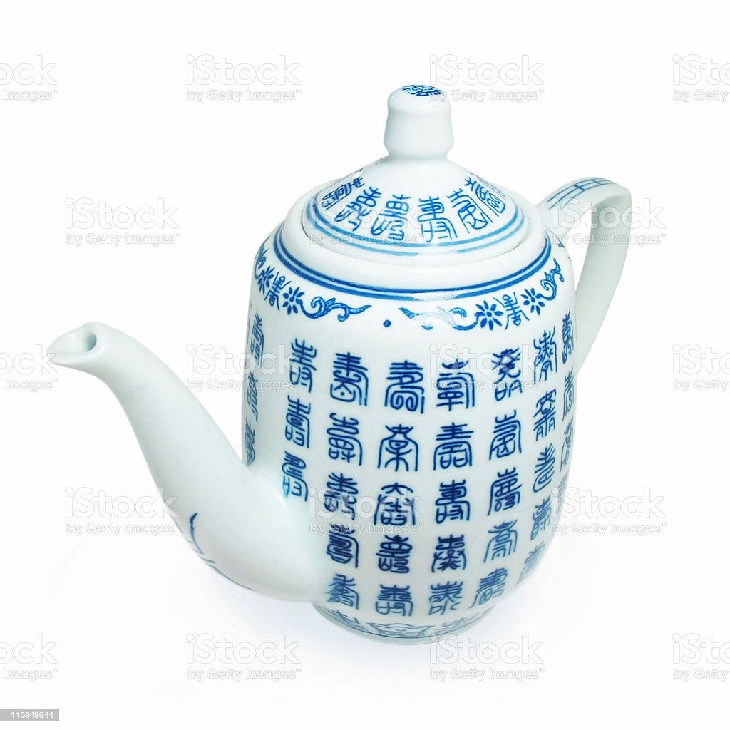Asian porcelain Tea Can isolated - Clipping path royalty-free stock photo