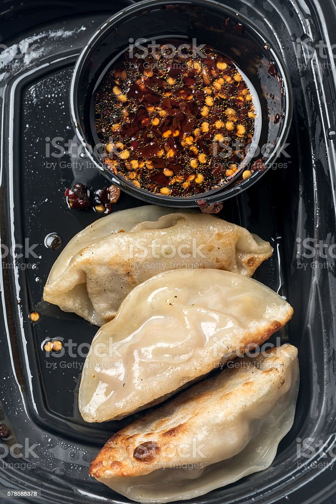 Asian Pork Potstickers stock photo