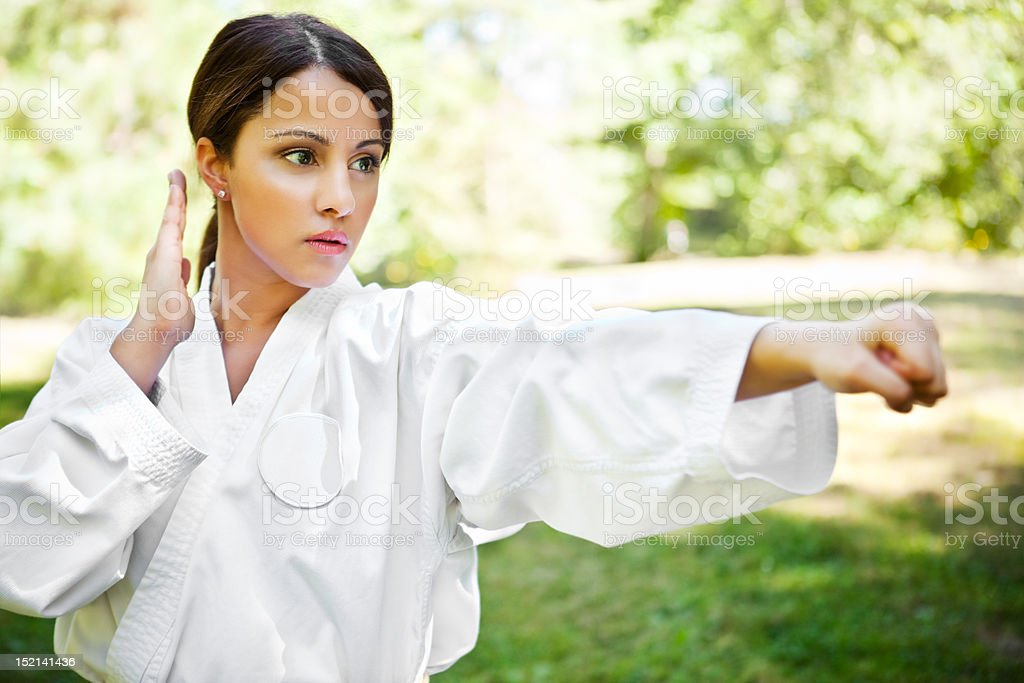 Asian practicing karate stock photo