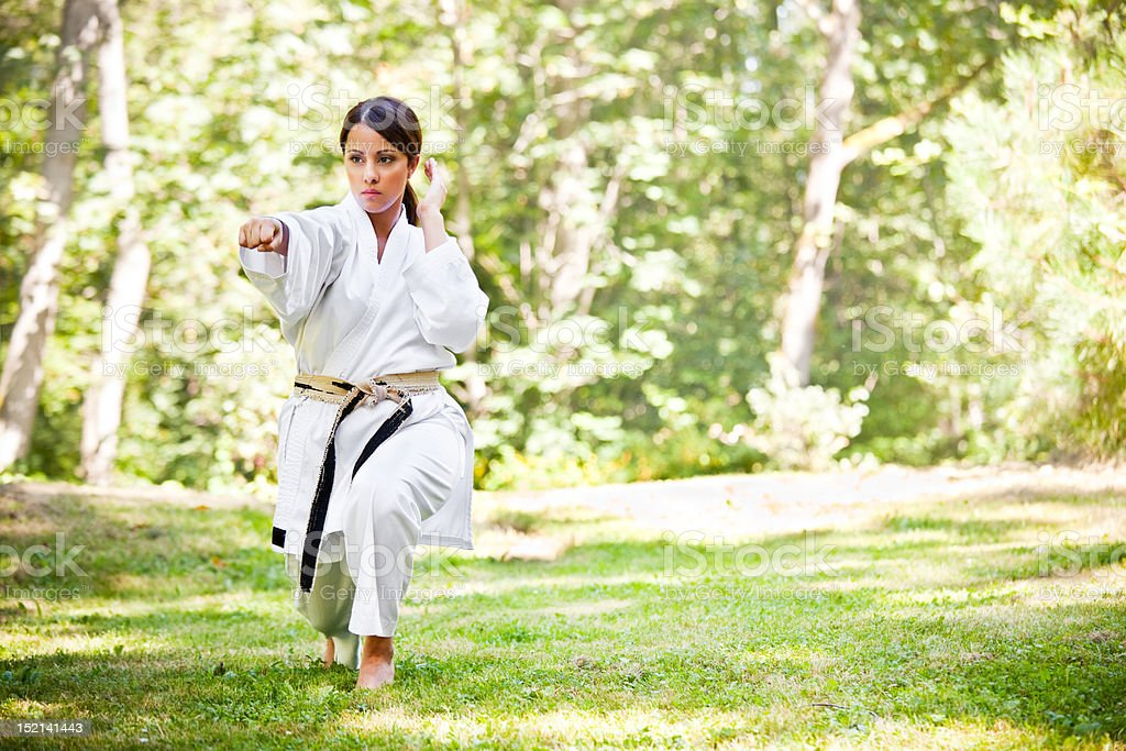 Asian practicing karate royalty-free stock photo