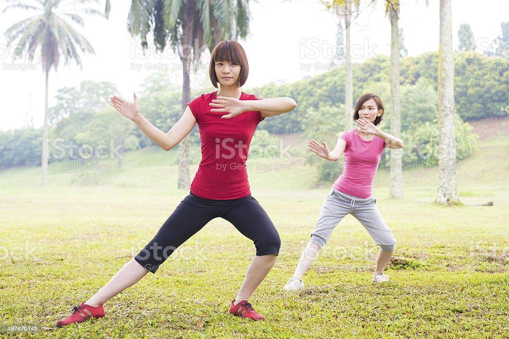 Asian practicing tai chi outdoor stock photo