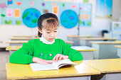 asian primary students read books in classroom