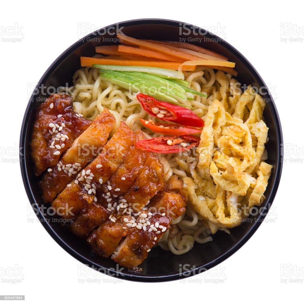 Asian ramen noodles with chicken schnitzel katsu with teriyaki sauce stock photo