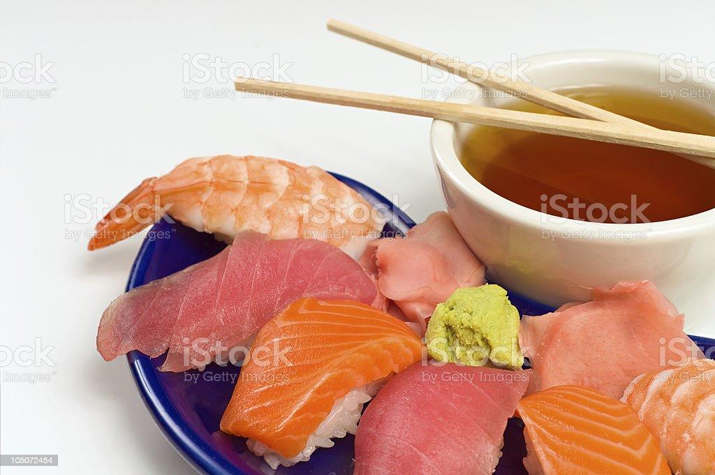 Asian Raw Fish Sushi Dinner w/ Shrimp Tuna Salmon stock photo