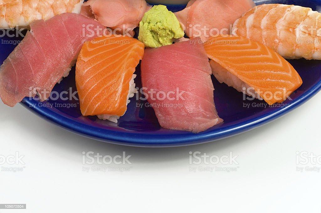 Asian Raw Fish Sushi Dinner w/ Shrimp Tuna Salmon royalty-free stock photo