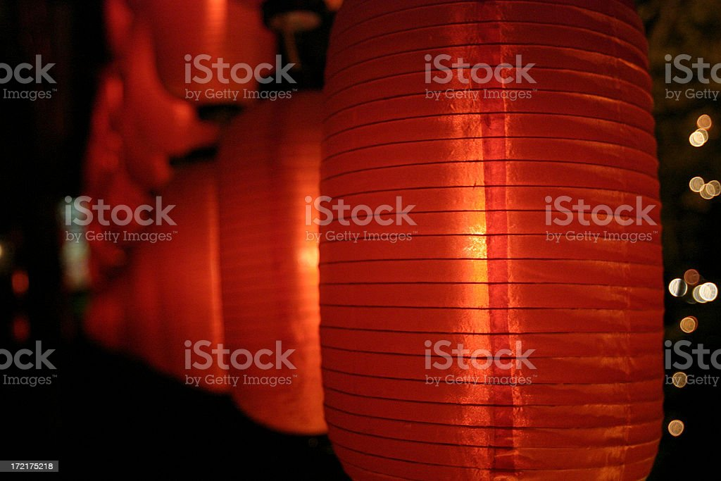 Asian Red Paper Lanterns royalty-free stock photo
