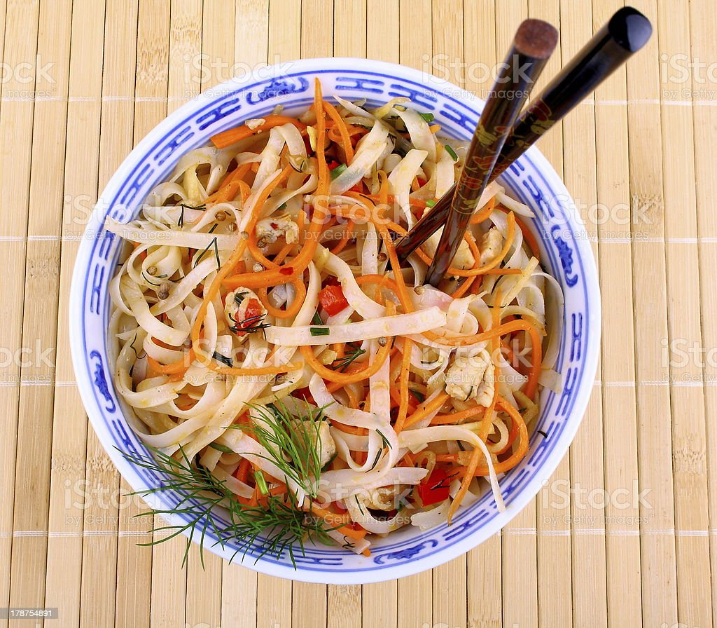 Asian rice noodle with chicken meat and chopsticks, close up royalty-free stock photo