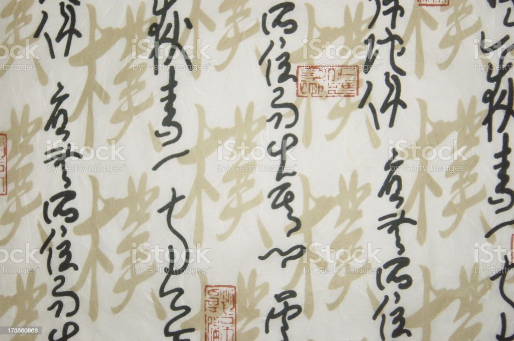 Asian Rice paper with writing stock photo