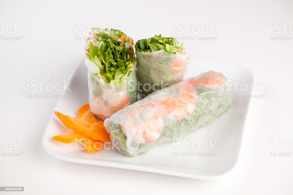 Asian roll sliced and displayed on white background  stock photo