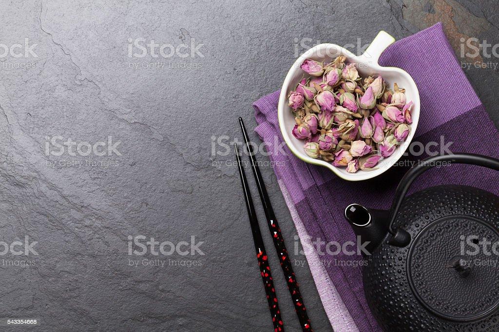 Asian rose tea and teapot stock photo