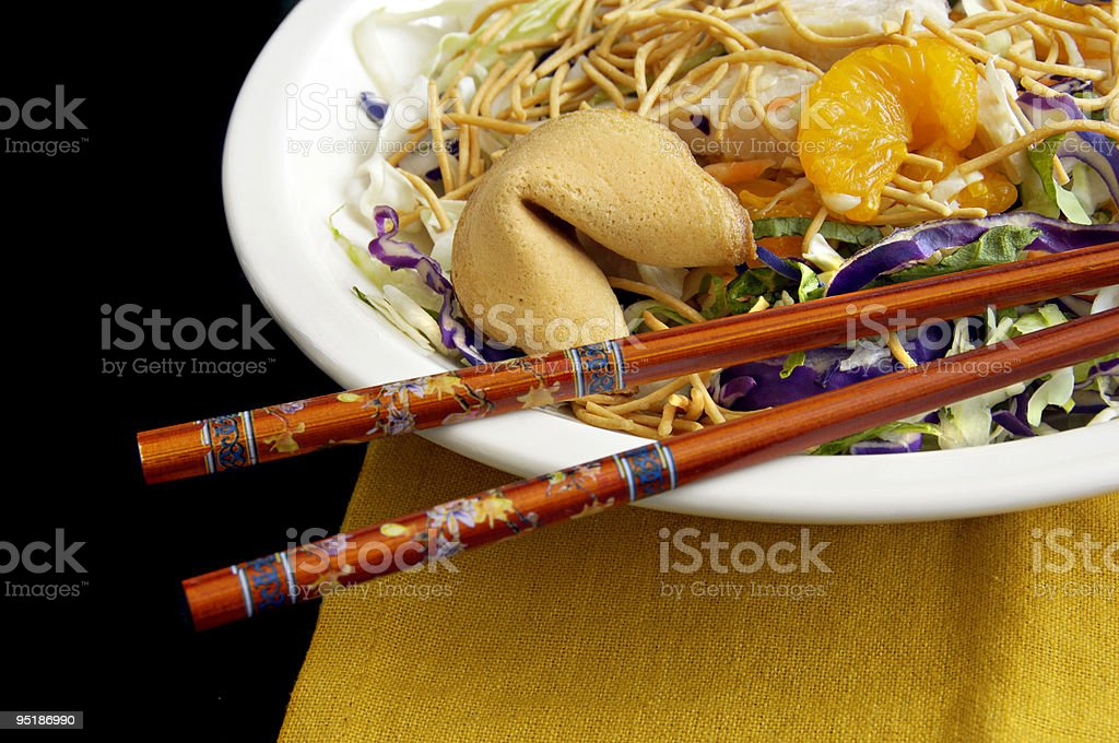Asian Salad with Chopsticks royalty-free stock photo