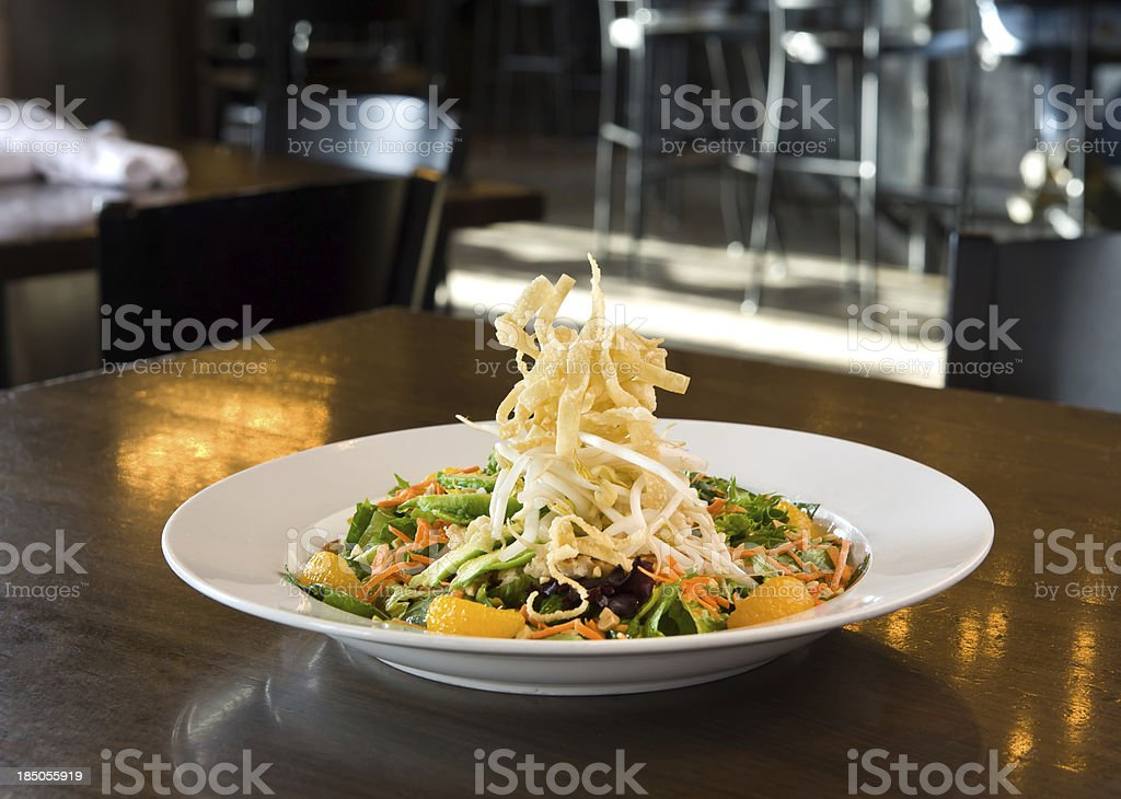 Asian Salad with Fried Wontons royalty-free stock photo