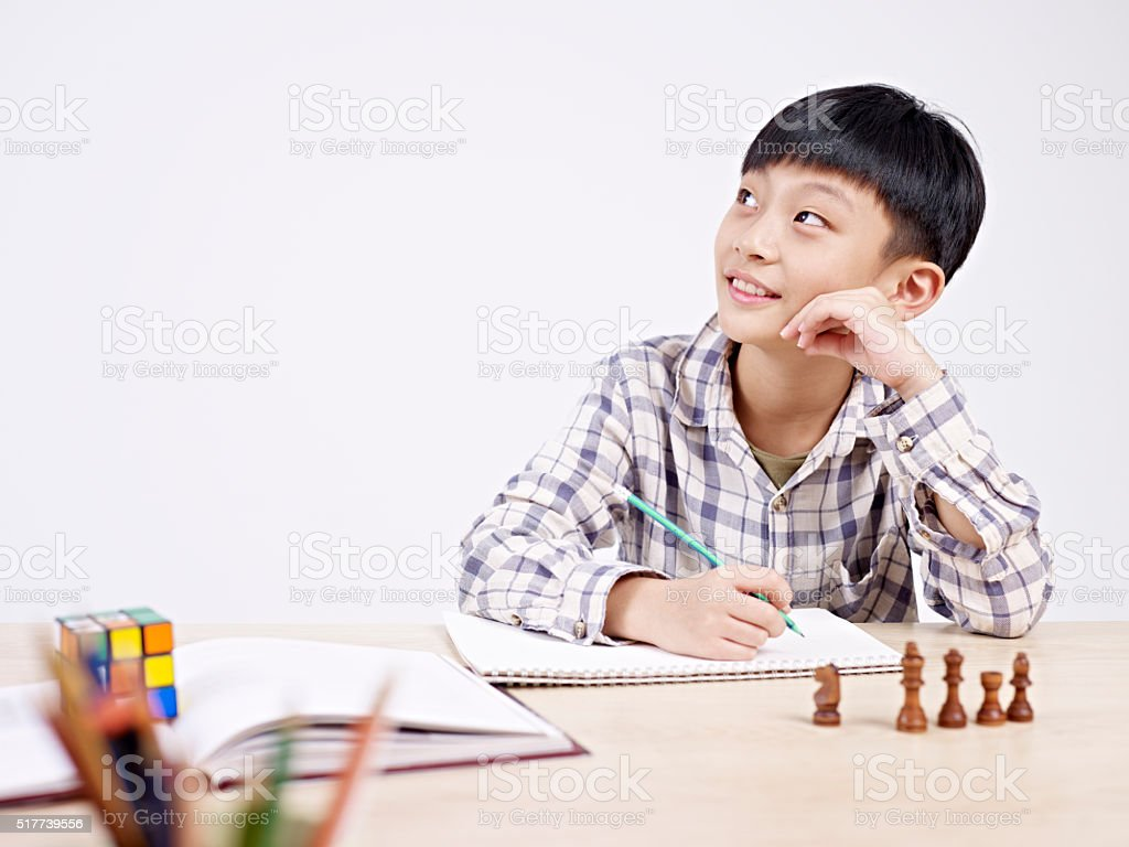 asian schoolboy studying stock photo