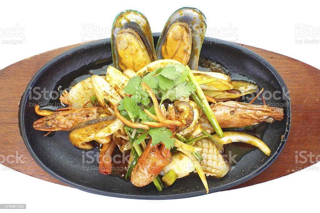 asian seafood pan fried on white background royalty-free stock photo