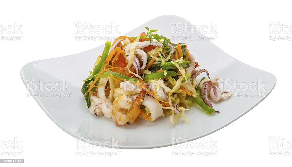 Asian seafood salad royalty-free stock photo