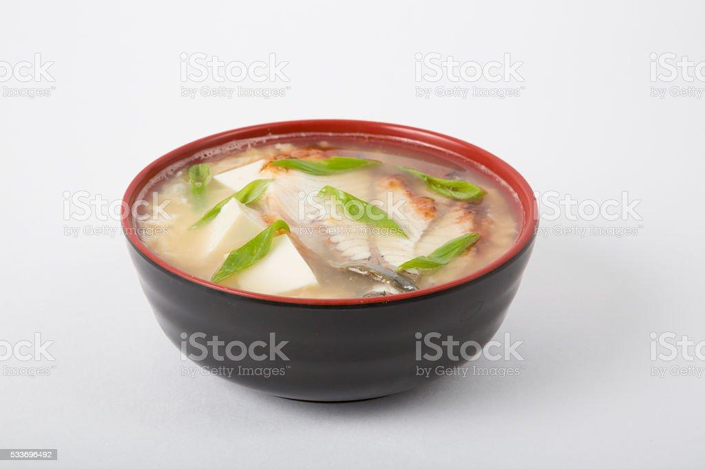 Asian seafood soup bowl stock photo