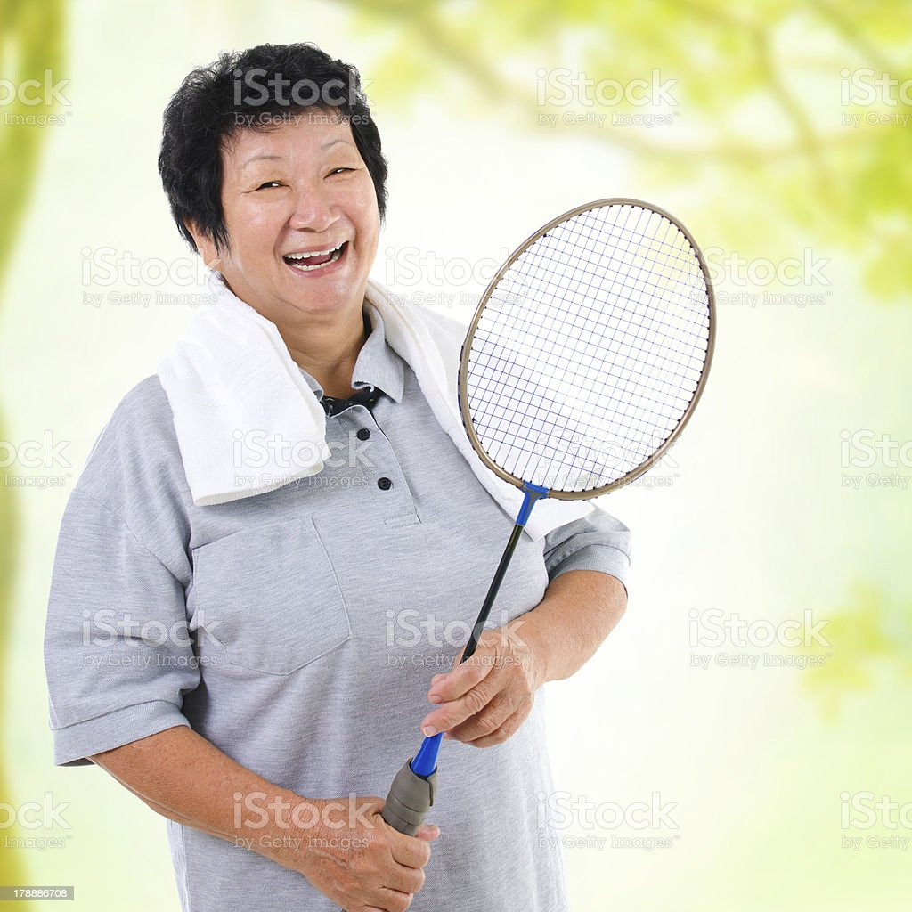 Asian senior sport stock photo