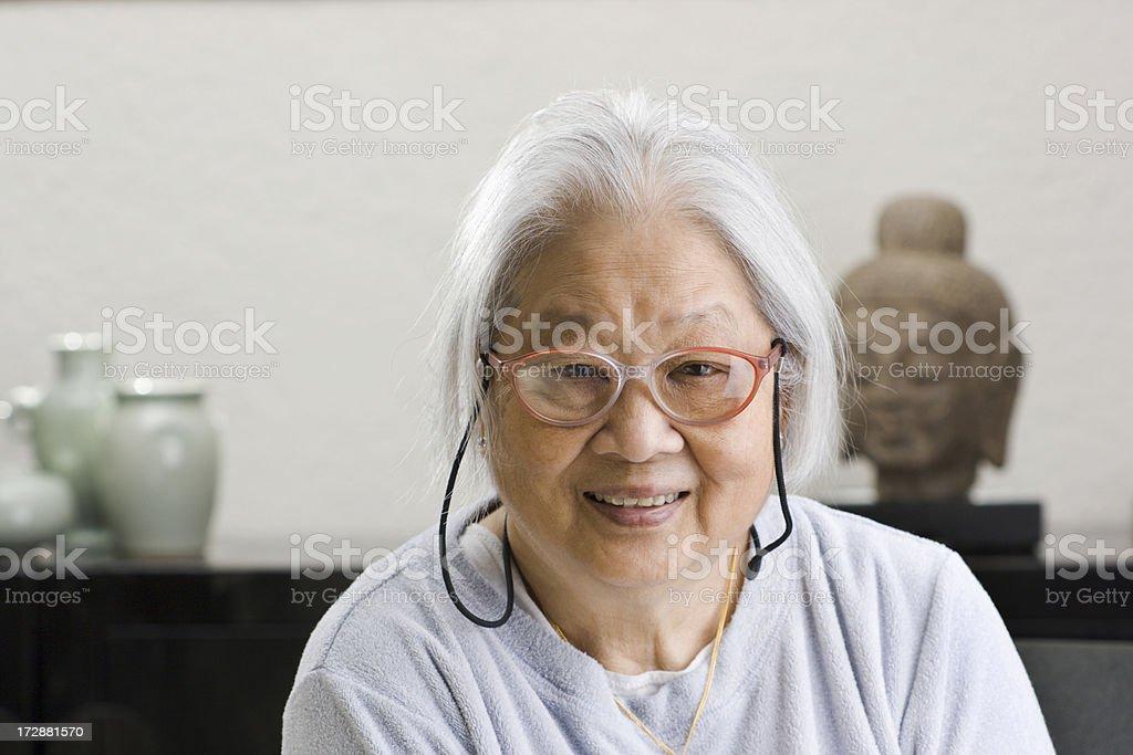 Asian Senior Woman at Home royalty-free stock photo