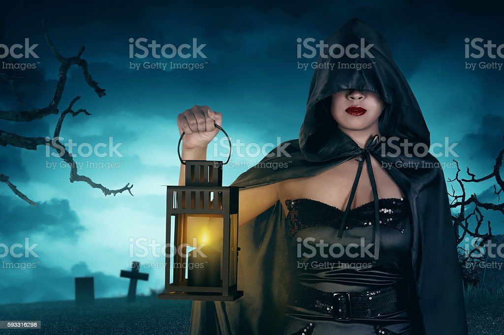 Asian sexy witch woman stock photo