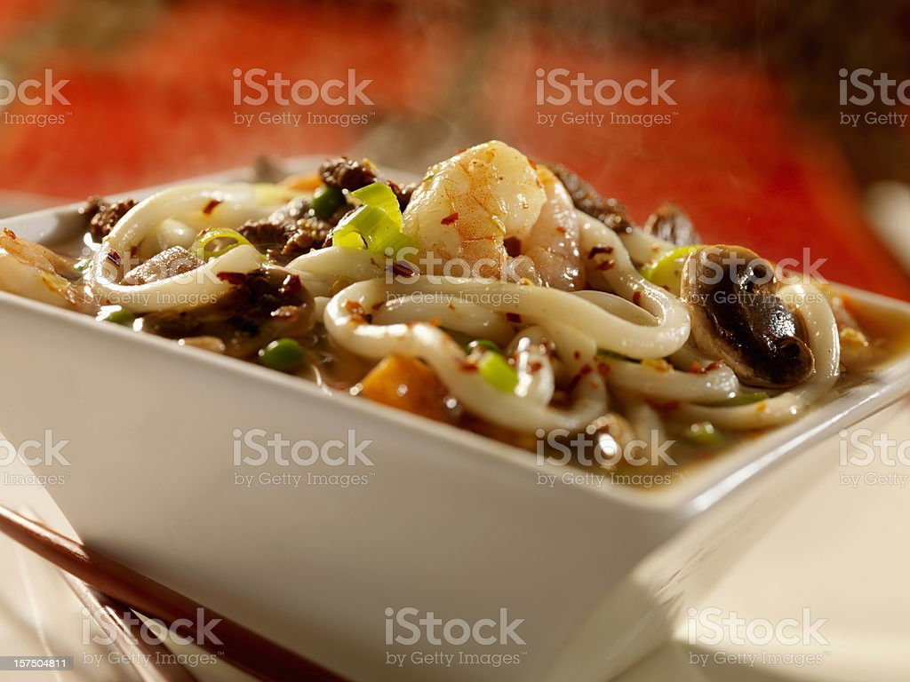 Asian Shrimp and Beef Noodle Soup stock photo