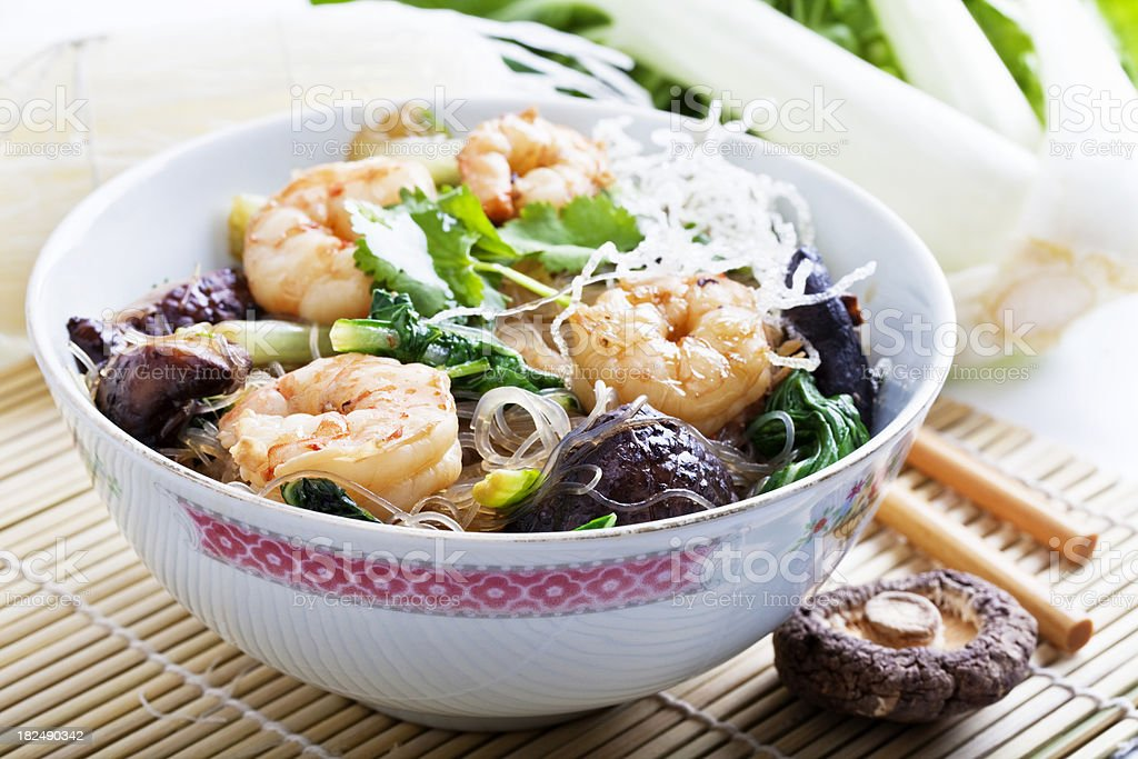 asian shrimps and noodles royalty-free stock photo