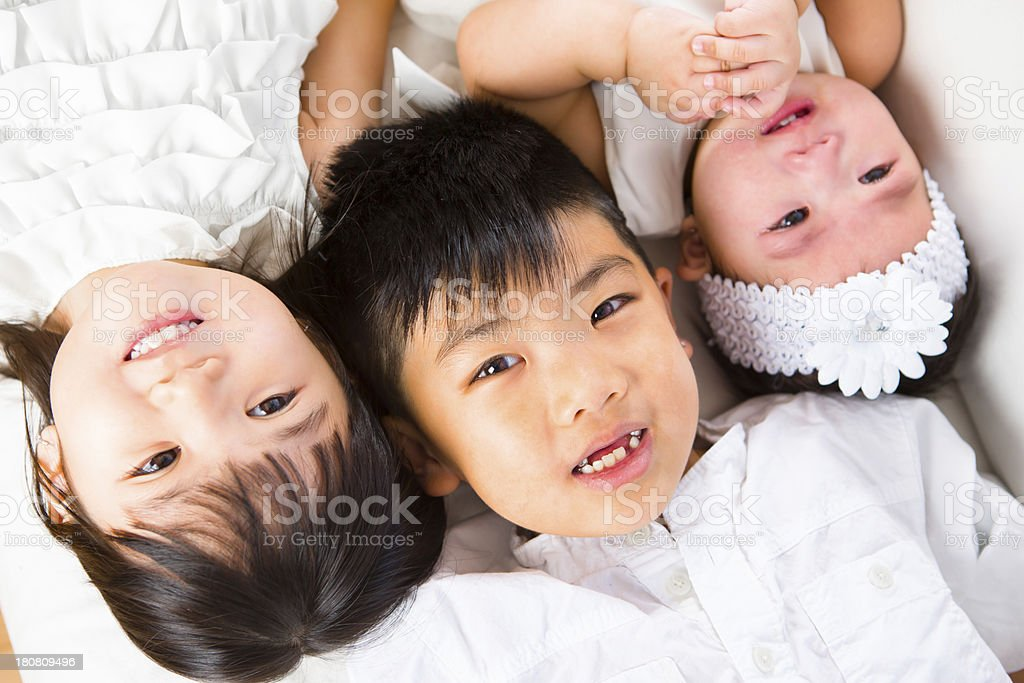 Asian sibling portrait royalty-free stock photo