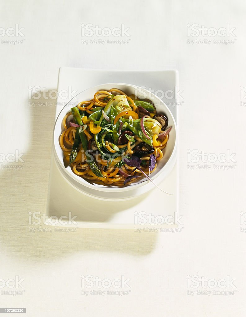 Asian Soba Noodle and asparagus. Oriental food. stock photo