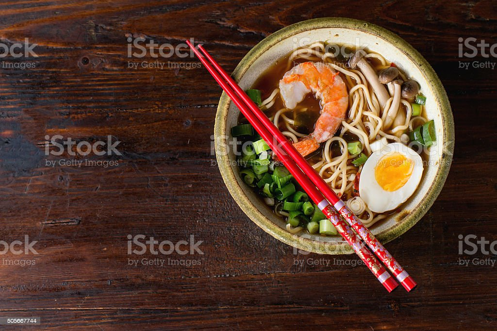 Asian soup ramen with shrimp stock photo