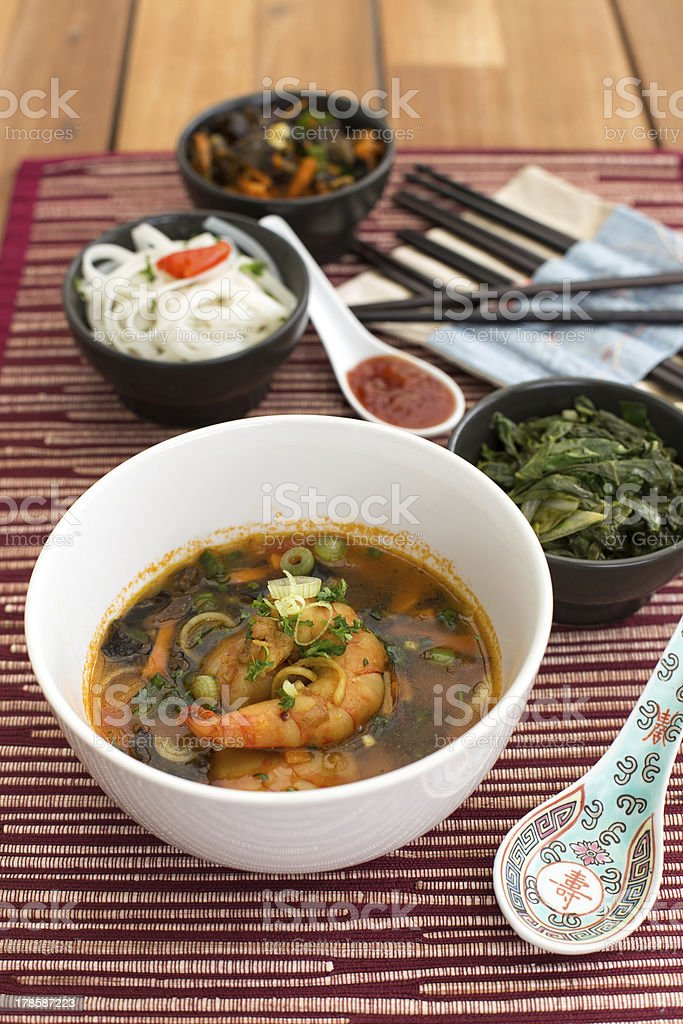 Asian soup with shrimps royalty-free stock photo