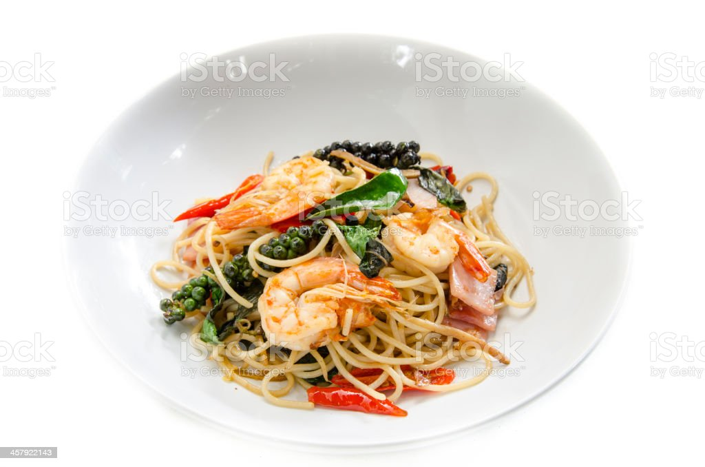 Asian spicy spaghetti with shrimp and herb stock photo
