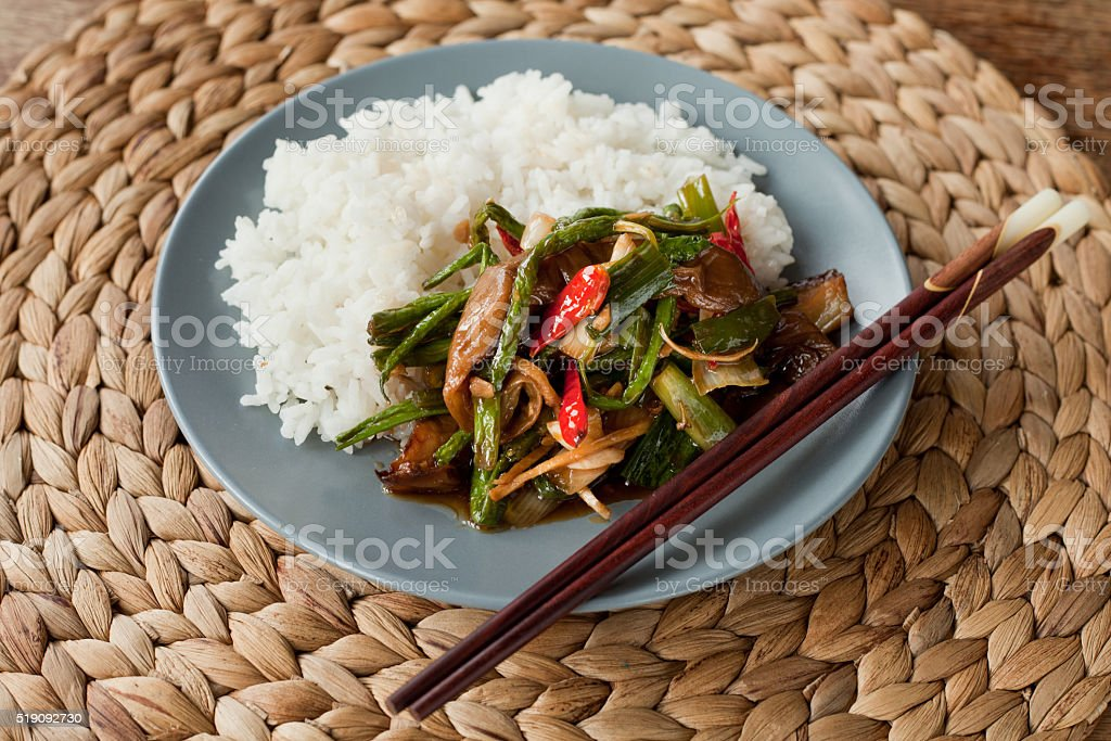 asian spicy stir fry stock photo