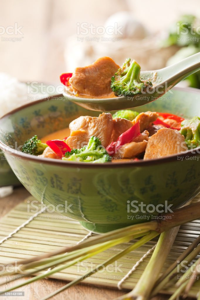 Asian Stills: Chicken Curry with Broccoli in Bowl royalty-free stock photo