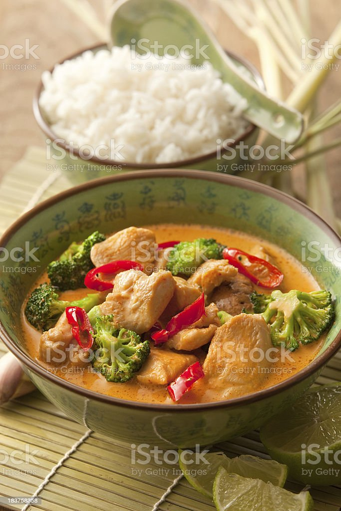 Asian Stills: Chicken Curry with Broccoli in Bowl stock photo