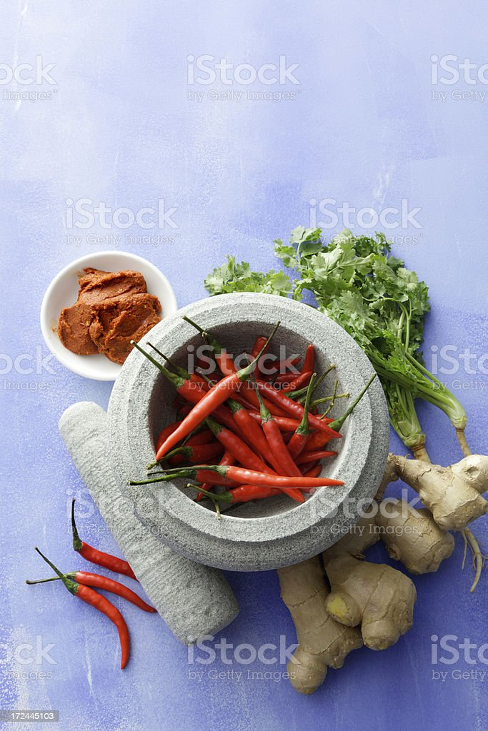 Asian Stills: Chili Pepper, Ginger, Cilantro and Curry Paste royalty-free stock photo