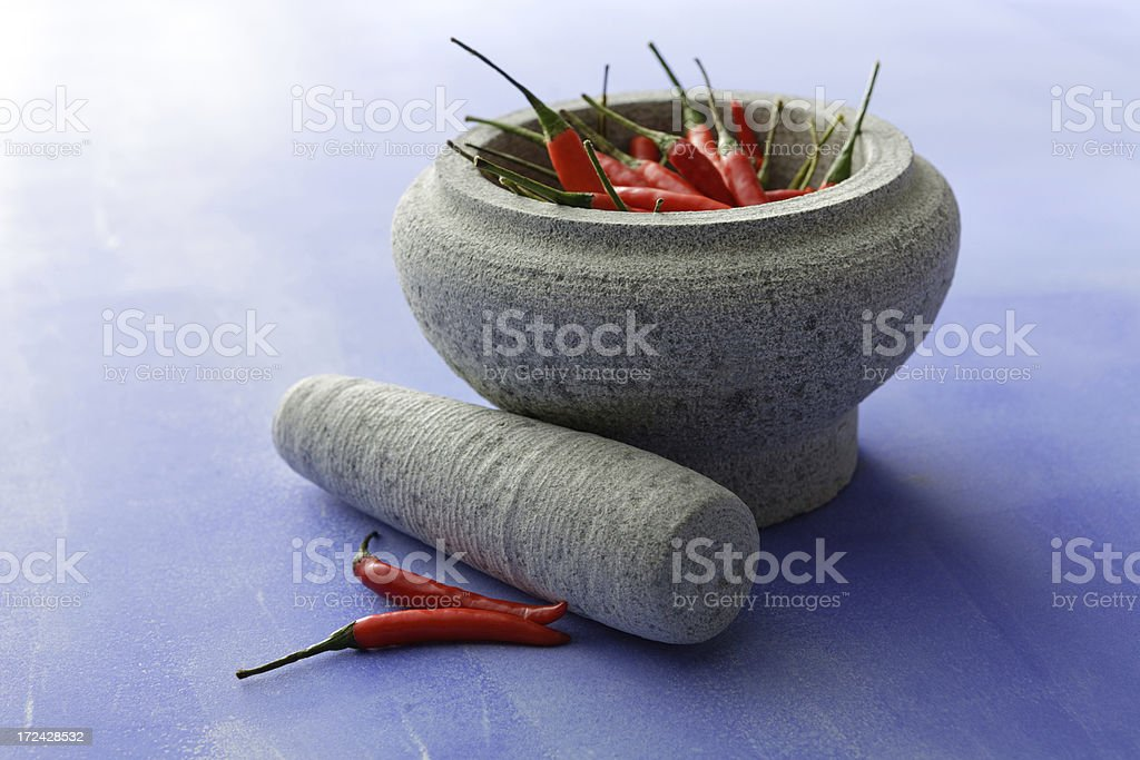 Asian Stills: Chili Pepper, Mortar and Pestle royalty-free stock photo