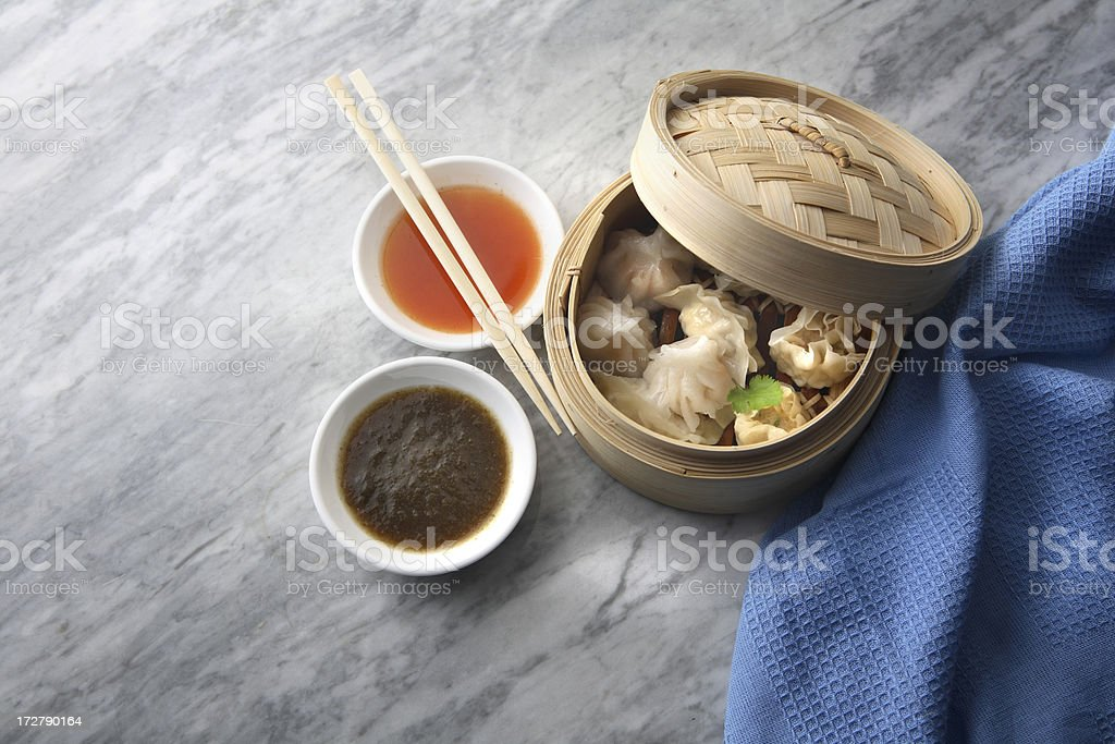 Asian Stills: Dim Sum in Bamboo Steamer royalty-free stock photo