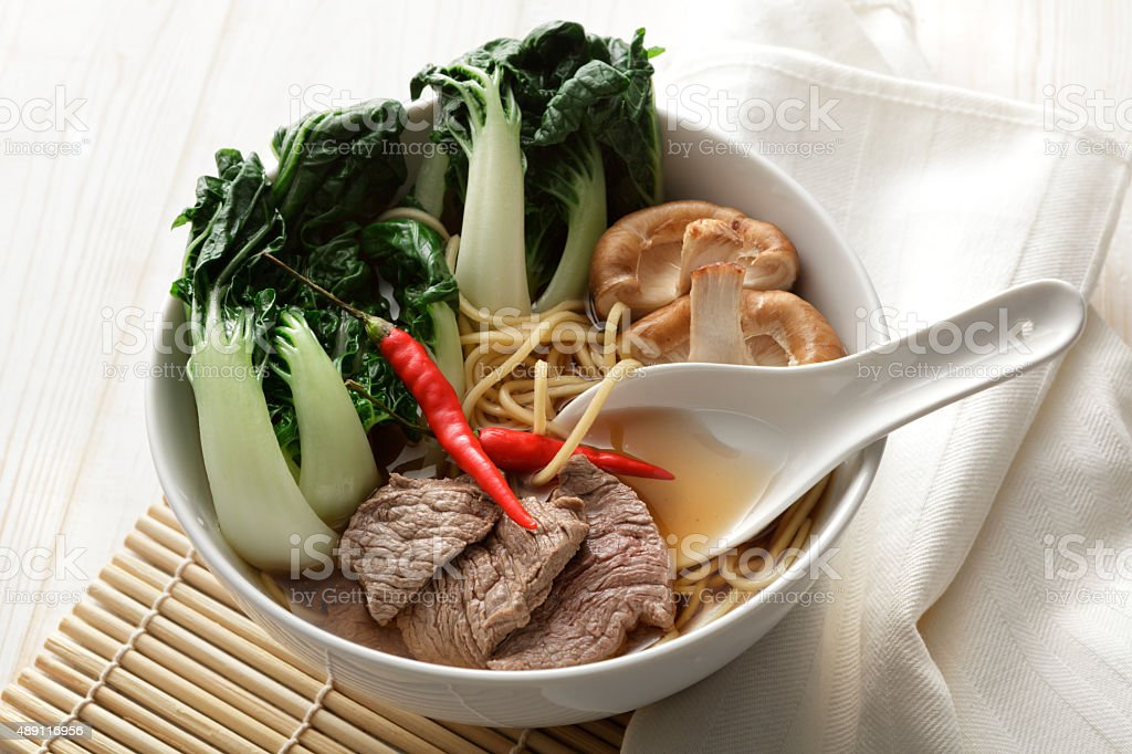 Asian Stills: Noodle Soup with Beef, Bok Choy and Shiitake stock photo